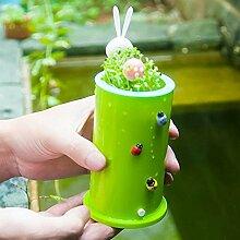 Kreative nette Runde Hausgarten-Büro-Dekor-Craft Kunststoff Pflanzenpflege Töpfe Versorgung Hot Sale Zubehör Grün