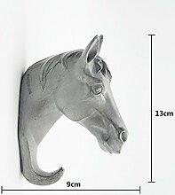 Kreative Pferd Umhang Haken Tür Schlüssel Eingang Tür Kleiderbügel Wand Einzelhaken ( Farbe : Grau )