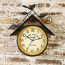 Kreative Retro Schmiedeeisen Zweiseitige Kuckuck Wanduhr Ornament Ornament Anhänger Wohnzimmer Dreidimensionale Wand Wand Ornament Ornament Bar Kreative Wand Hintergrund Wand Anhänger Retro Style Of Industrial Wind ( Farbe : 1# )