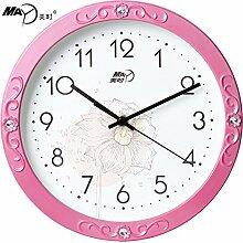 Kreative ruhige Wanduhr, Hauptdekoration Wandtaktgeber, moderne Art und Weisewandtaktgeber, Pink Flower Clock Face14.Zoll