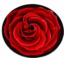 Kreative Runde Rose Teppich Europäische einfache für Wohnen & Schlafzimmer &Sofa&Kaffetisch Drehstuhl Teppich,Matte (Rot, Durchmesser 60cm)