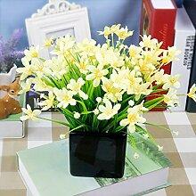 Kreative Simulation Heimtextilien Simulation Blume Blume Dekoration Zubehör Blume Seide Blumentöpfe Ganze Floral Table Table Blumenornamenten, Gelb-Schwarze Orchidee Becken