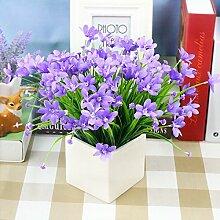 Kreative Simulation Heimtextilien Simulation Blume Blume Dekoration Zubehör Blume Seide Blumentöpfe Ganze Floral Table Table Blumenornamenten, Lila Orchidee - White Square Po