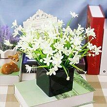 Kreative Simulation Heimtextilien Simulation Blume Blume Dekoration Zubehör Blume Seide Blumentöpfe Ganze Floral Table Table Blumenornamenten, Schwarz-Weiße Orchidee Becken