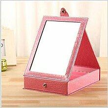 Kreative Spiegel Schmuckschatulle kosmetische Kunststoff-Aufbewahrungsbox Klappspiegel-Desktop , pink , trumpe