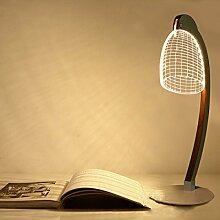 Kreative Stereoskopische 3D-Lampe Holzrahmen Acryl Zylinder Biegen LED-Nachtlicht,B