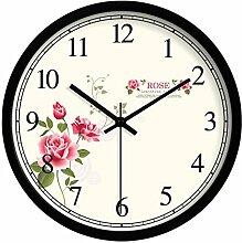 Kreative Uhr Tisch/Gartenblumen Wanduhr/Wohnzimmer Schlafzimmer Ultra Silent Wall Clock-C 14Zoll