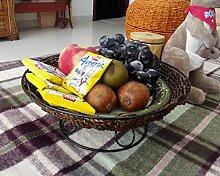 Kreative Verzierungen Stroh Korb Mit Obst Zuckerrohr Huangguo Amerikanischen Haushalt Wohnzimmer Garten Storage Obstschale Warenkorb, Braun Kaffee