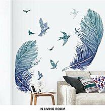 Kreative Wandaufkleber Blaue Feder Fliegender