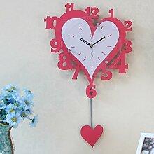 Kreative Wohnzimmer herzförmigen Pendeluhr mute Möbel Ornamente Wanduhr hängen Tisch ( farbe : Pink )