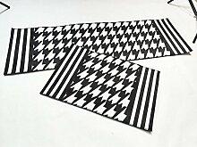 Kreativer Geometrischer Plaid-Küchen-Wolldecke, Super Weiches Bequemes Polyester-Badezimmer-Schlafzimmer-Kopfteil-Anti-Beleg-Teppich-Maschinen-Wäsche-Schwarz-Weiß,40*60+40*120
