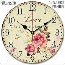 Kreativer Hausanhänger, Schlafzimmer Wanduhr, dekorative Wanduhr, ruhige Wanduhr, Liebe Rose mit Sekunden20.Zoll