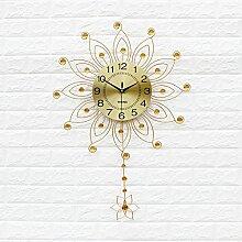 Kreativer Hausanhänger, Schlafzimmer Wanduhr, dekorative Wanduhr, ruhige Wanduhr,Gold 50,5 cm 20 Zoll
