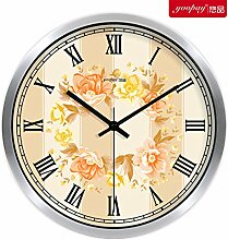 Kreativer Hausanhänger, Schlafzimmer Wanduhr, dekorative Wanduhr, ruhige Wanduhr, Silber,10zoll