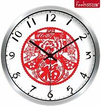Kreativer Hausanhänger, Schlafzimmer Wanduhr, dekorative Wanduhr, ruhige Wanduhr, Metallic Silver Box12.Zoll
