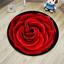 Kreativer runder Teppich Wohnzimmer Matte Korb Drehstuhl Ruhiger Hocker Computer Stuhl Matte Schlafzimmer Nachttuch Rose Teppich ( Farbe : Rot , größe : Diameter 160cm )