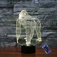Kreatives 3D-Gorilla-Nachtlicht, 16 Farben,