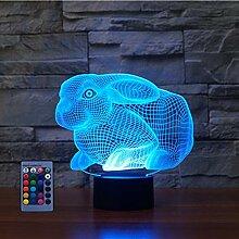 Kreatives 3D-Nachtlicht mit Kaninchen-Motiv,