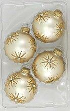 Krebs Glas Lauscha - 4 Weihnachtskugeln mit