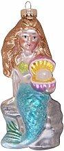 Krebs Glas Lauscha Meerjungfrau mit Austern und