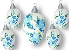 Krebs Glas Lauscha Osterei Blüten (Set, 5 Stück)