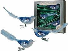 Krebs Glas Lauscha - Vogelsortiment (blau)