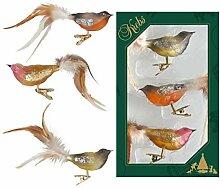 Krebs Glas Lauscha Vogelsortiment, Natur
