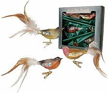 Krebs Glas Lauscha - Vogelsortiment (Natur