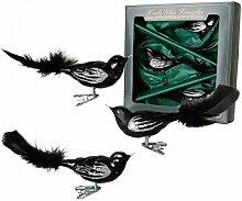 Krebs Glas Lauscha - Vogelsortiment (schwarz)