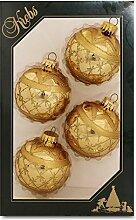 Krebs Glas Lauscha Weihnachtskugeln Gold mit