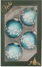 Krebs Glas Lauscha Weihnachtskugeln Hellblau mit