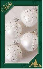 Krebs Glas Lauscha Weihnachtskugeln Silber mit
