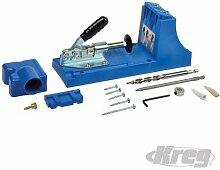 Kreg Jig®, K4, GUIDE Bohr-abnehmbarer für Werkbank und tragbar Verwendung. 3,2mm (1/20,3cm) von Einstellungen für die Materialien von 12,7bis 38,1mm (1/5,1cm bis 1–1/5,1cm) Dick. Guide Bohr-aus gehärtetem Stahl mit 3-drill fester Abstand. Enthält Kreg Jig®, Block Abstandshalter, HSS Stufenbohrer, 152mm (15,2cm) Antriebsvierkant, Set Schrauben, Steckdose Starter Set, skillbuildertm DVD, Quick Start Guide und Tragetasche.
