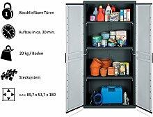 KREHER XXL Kunststoffschrank mit 3 höhenverstellbaren Böden und abschließbaren Türen. Maße BxTxH in cm: 89,7 x 53,7 x 180 cm