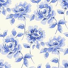 Kreidedruck Vliestapete Aquarell gemalte Rosen Hellblau - 128014 - von ESTAhome.nl