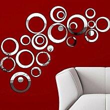 Kreis Portfolio Mode Spiegel Grün Acryl Wandaufkleber Hintergrund Dekorative Wand,Silver