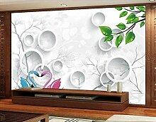 Kreis Schwan 3D Tapeten -200Cmx140Cm Blätter