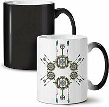 Kreisförmig Gestalten Mode Schwarz Farbwechsel Tee Kaffee Keramisch Becher 11 oz   Wellcoda