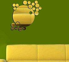 Kreisförmige Kombination Spiegel Grün Acryl Wandaufkleber Kinderzimmer Dekoriert,Gold