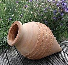 Kreta-Keramik handgefertigte liegende terracotta Spitzamphore, frostfest, 60 cm, mediterrane Deko Garten Teich Beet, Vitex2