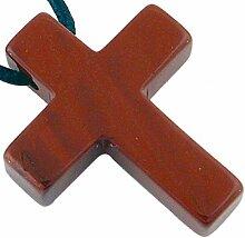 Kreuz Anhänger Jaspis, 30 mm mit Lederband,
