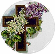 Kreuz Blumen Ornament rund Porzellan Weihnachten tolle Geschenkidee