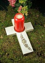 Kreuz für Grablicht mit Ranke
