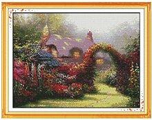 Kreuzstich Stickerei Gartenhaus 40x50cm DIY