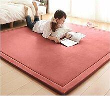 Kriechende matte baumwolle baby,Verdicken sie Volltonfarbe Spielen sie teppich kinder schlafzimmer decor wohnzimmer teppiche-anti-rutsch kriechen matratze tatami Bruchsicher Erker-decke-Rosa 120x200cm(47x79inch)