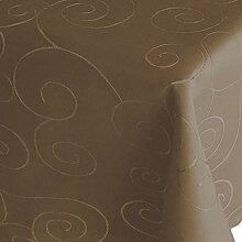 Kringel / Circle Tafeldecke Form , Größe & Farbe wählbar- Eckig 130 x 220 cm - Dunkelbraun - Damast Tischdecke