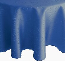 Kringel / Circle Tafeldecke - Oval 130 x 220 cm Farbe wählbar - Dunkelblau Blau - Damast Tischdecke