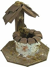 Krippenshop Brunnen aus Holz mit kleinem Dach,
