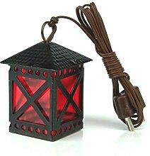 krippenshop Schwarze Laterne aus Blech, rote