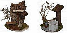 Krippenzubehör Krippenset Brunnen mit Zaun und